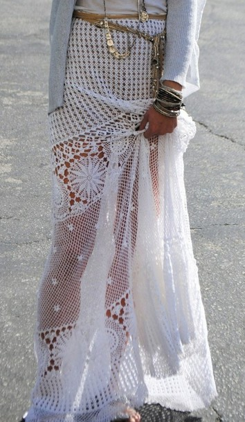 Skirt Crochet White Knit Long Necklace Bracelets Lace Skirt