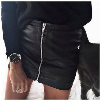 skirt leather mini skirt leather skirt zipper skirt zipped skirt black leather skirt