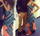 dress,maxi dress,blue maxi dress,geometric,diamonds,cute dress,love,aqua,pattern,comfy,summer