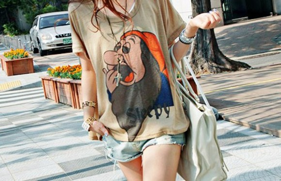 brown t-shirt grey t-shirt disney tee Sleepy clothes