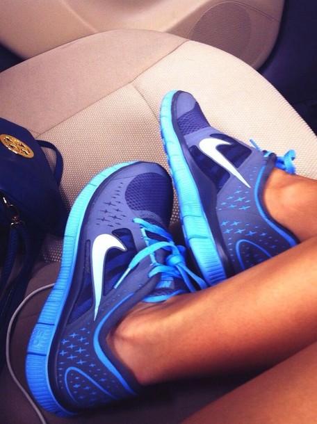 shoes nike nike free run nike free run 5.0 light blue dark blue blue