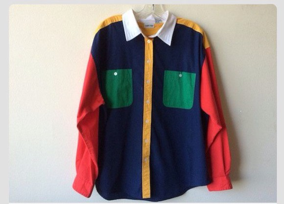 green navy top vintage color block shirt button down shirt 80's 80s style red yellow