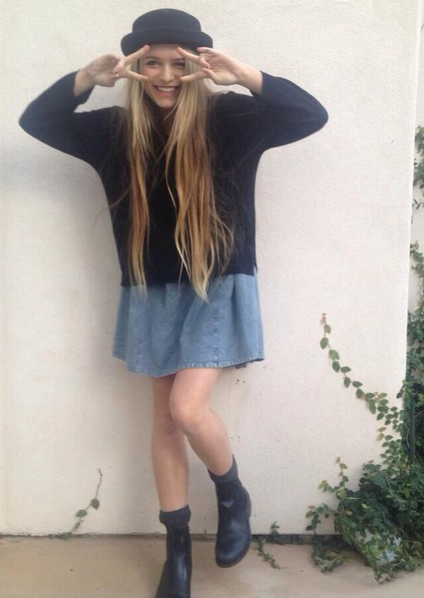 skirt denim skirt denim skater skirt blouse sweater hat grunge jean skirt