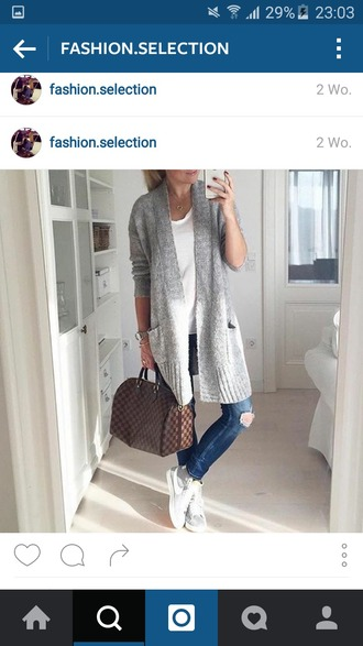 cardigan grey grey cardigan pockets long stylish