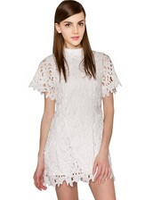 dress,cute,pixie market,pixiemarket,trendy,white,lace,sleeves,mock neck,cute trend,summer,summer dress