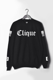 sweater,menswear,shirt,clique,dope,hoodie,black,sweatshirt,hipster,swag,white,fashion,girl,summer,fancy,rihanna,nice,clothes,black sweater clique,black and white