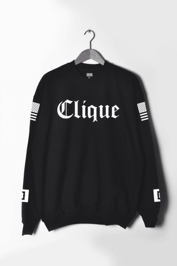 sweater menswear shirt clique dope hoodie swag black white fashion girl girl summer fancy sweater rihanna nice clothes clothes black sweater clique black and white
