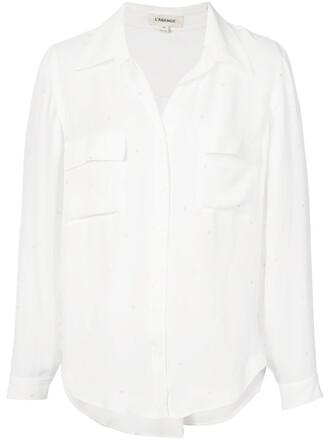 shirt women classic white silk top