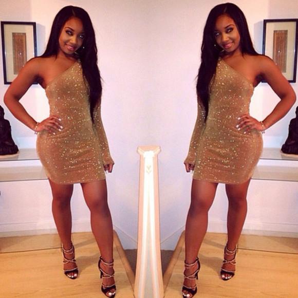 one shoulder champagne dress sparkly dress