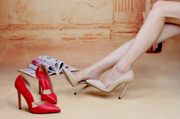 women shoes red high heels party fashion