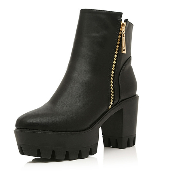 Fashion Round Toe Zipper Side Ankle Platform Boots Black
