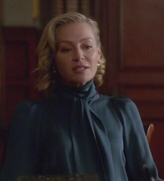 blouse scandal elizabeth north portia de rossi teal bow neck