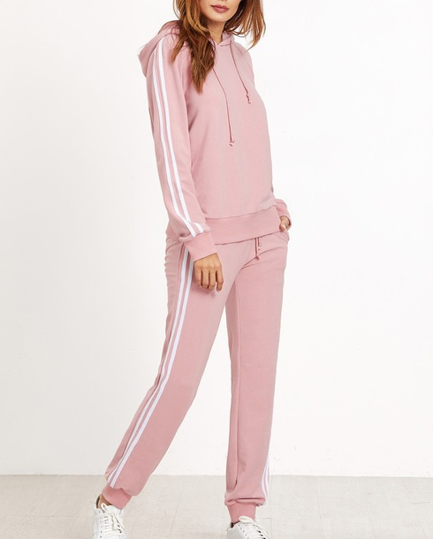 jumpsuit girly pink white stripes two-piece matching set hoodie joggers