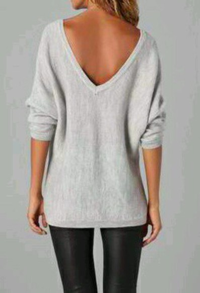 backless sweater grey