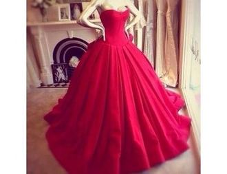 dress red flow strapless red long dress ball gowns red prom dress prom dress