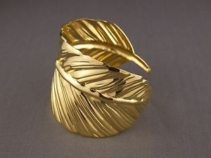 "Shiny Gold Tone Leaf Feather Pattern Metal Bangle Cuff 2"" Wide Bracelet 