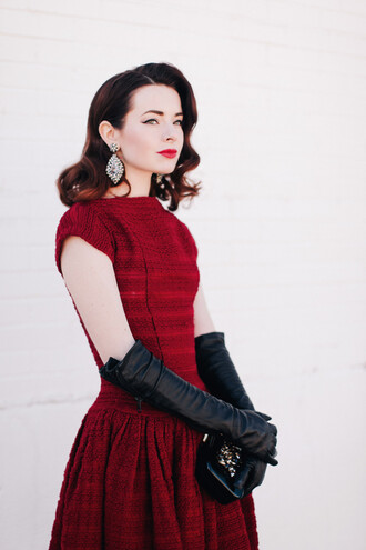 sea of shoes blogger gloves make-up retro elegant red dress leather gloves statement earrings dress