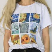 top,van gogh,van gogh shirt,van gogh paintings,van go painting,sunflower,starry night,the room,the ear,t-shirt,painting,artist,art