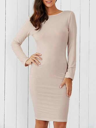dress long sleeves long sleeve dress bodycon bodycon dress beige beige dres beige dress