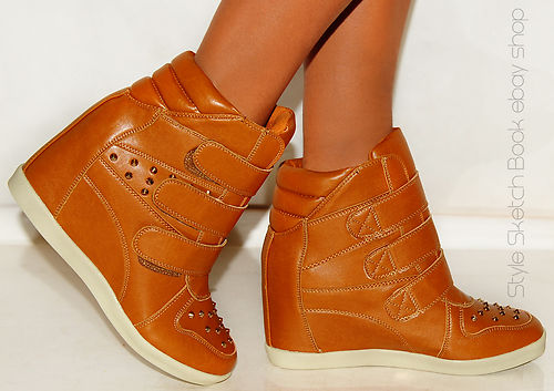 LADIES WOMENS FASHION TAN STUDDED WEDGES WEDGED VELCRO HI TOP TRAINERS SNEAKERS | Amazing Shoes UK