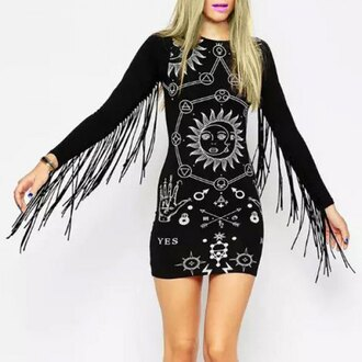 dress alternative goth bodycon dress fringes rose wholesale girl long sleeves party dress goth hipster style hipster punk street goth fashion black moon sexy round neck long sleeve printed fringed women's dress trendy cool rosegal-dec