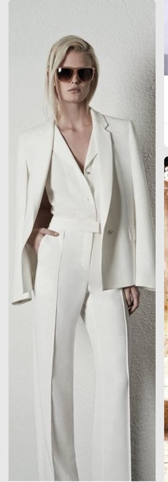 jumpsuit white pant white white blouse white jacket pants