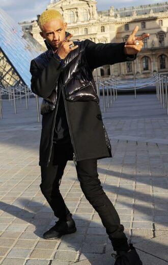 coat pants black black pants jaden smith paris fashion week 2017 streetstyle menswear mens suit mens coat mens pants