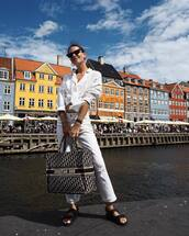 shoes,strappy sandals,sandals,white jeans,white shirt,bag,sunglasses,earrings