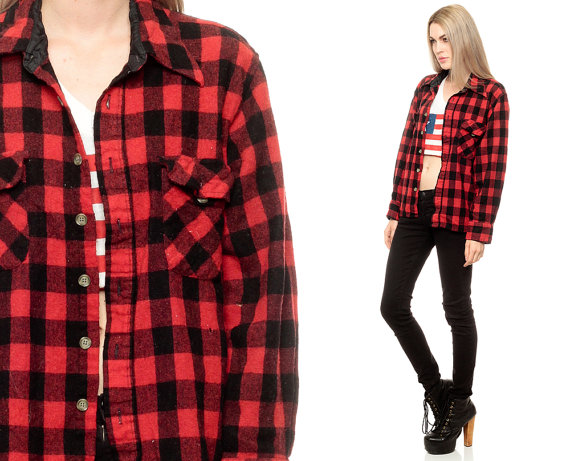 Buffalo Plaid shirt 90s FLANNEL Grunge Red Long by ShopExile