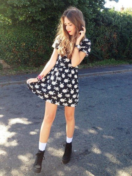 dress print dress summer dress daisy dress black and white dress shoes