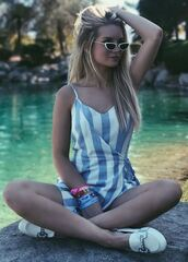 romper,stripes,summer outfits,summer shorts,sunglasses,instagram,lottie moss,coachella,festival,music festival