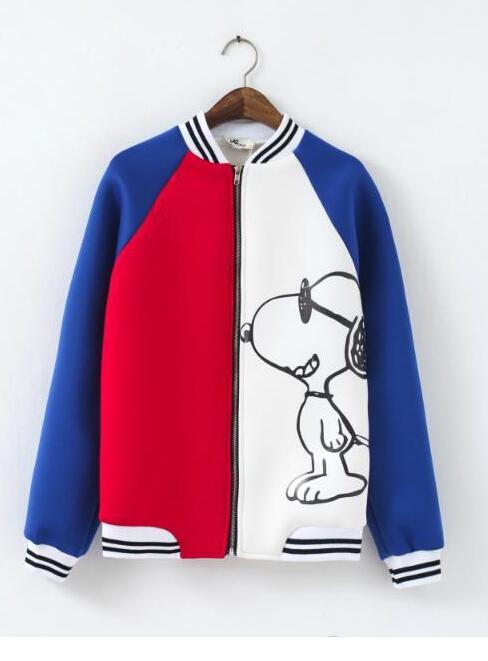 2014 blue white colorblocked snoopy baseball jacket for girls [snoopy baseball jacket]