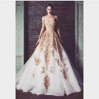 dress white wedding dress gold long dress