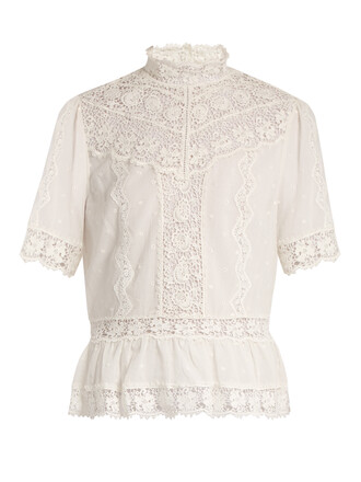 top high lace cotton white