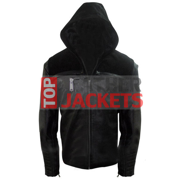 jacket leathers clothes menswear stephen amell green arrow hooded jacket