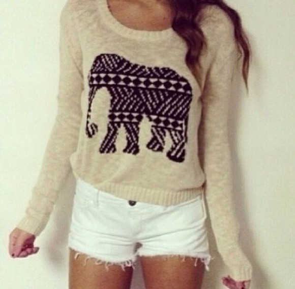 elephant sweater white