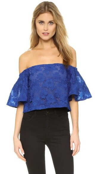 top lace floral blue