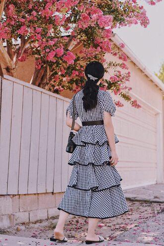 dress tumblr gingham gingham dresses midi dress ruffle ruffle dress shoes slide shoes summer dress