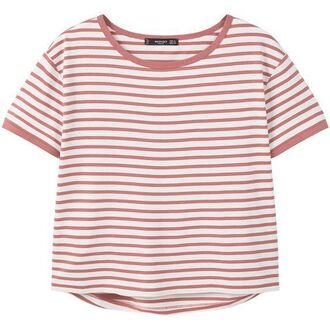 t-shirt top lines pink cute pastel