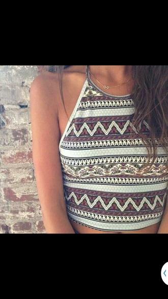 shirt boho tribal pattern tribal shirt halter neck summer top summer shirt