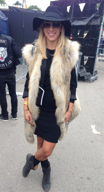 coat brown long fur vest fur vest