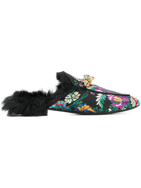 EMANUELA CARUSO embroidered fur fox women mules leather shoes