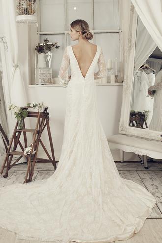 dress wedding dress ivory dress long wedding dress elliotclaire bridal gown long sleeves dress