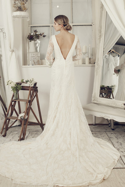 dress wedding dress ivory dress long wedding dress elliotclaire bridal gown long sleeve dress