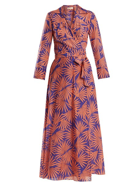 dress midi dress midi cotton print purple