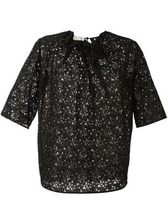 top lace floral black