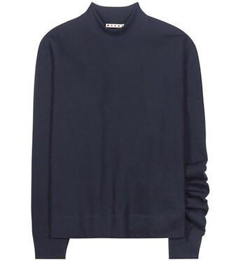 sweatshirt asymmetrical cotton blue sweater