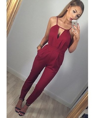 jumpsuit outfit classy burgundy