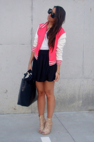 jacket pink varsity jacket bubblegum sunglasses black skirt long hair big purse white stripes