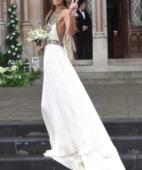 dress white pretty prom prom dress wedding dress wedding designs gatsby the great gatsby sleeveless bohemian boho boho dress bohemian hippie bohemian dress gold hipster wedding white beaded wedding dresss